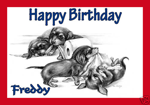 Personalised Dachshund Puppies Greetings Card